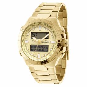Relógio Technos Anadigi Masculino Dourado Grande 0527ab/4x