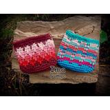 Monederos Tejidos En Crochet Con Dibujos. Artesanal.