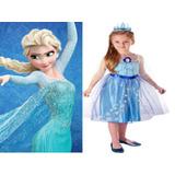 Vestido Difraz De Elsa Frozen Disney 100% Original Importado