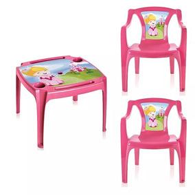 Mesa Mesinha Infantil 2 Cadeiras Princesas Menina Rosa