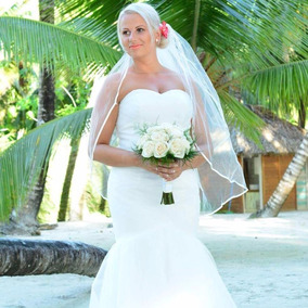 Vestido De Novia Sirena Color Blanco Strapless Hermoso F