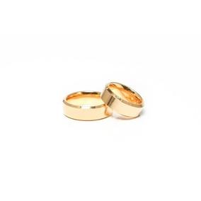Par De Alianças Noivado Casamento Banhadas Ouro 18 Quilates
