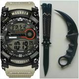 Kit Relógio Militar + Faca Tática Karambit + Butterfly