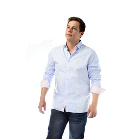 Camisa Clasica Celeste Rayitas Semi Entallado Italiano - Rx