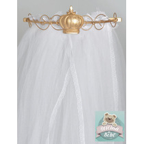 Dossel Coroa Luxo Rei Principe + Véu Mosquiteiro Cortinado
