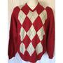Izod De Lacoste Sweater Chaleco Rombo Rojo Cuello V Xl