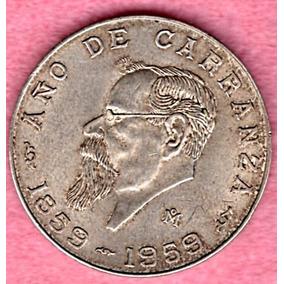 Moneda Mexicana Plata Año E Caranza 1959 Cinco Pesos P144