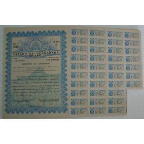 Ação Apólice Documento Estado Guanabara De 1964 37 Cupons Ar