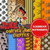 Kit Imprimible Pack Fondos Jake Y Los Piratas + Cliparts