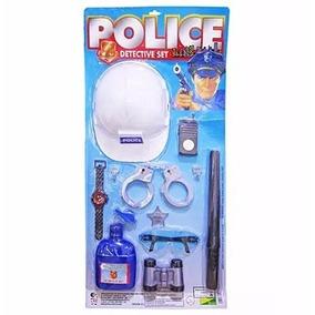 Kit Policial Infantil Cacetete Capacete Algema Relogio Oculo
