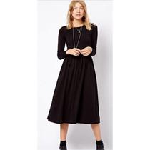 Vestido Longo Preto Manga Longa Boa Qualidade