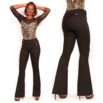 Sawary Jeans Preta Flare Boca De Sino 956 C Strech Pantalona