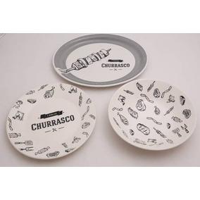 Conjunto Com 12 Peças Para Churrasco Porcelana Oxiford