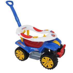 Carrinho Passeio Motoca Com Empurrador De Bebê - Azul Bebê