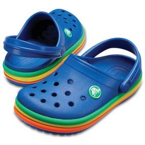 Crocs Crocband Niños Rainbow -azul C/multicolor