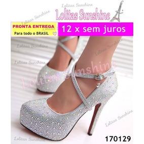 Sapato Feminino Importado, Cristal Com Strass Frete Grátis