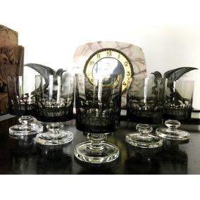 Copas Antigua De Vino Cristal Checo Black Talladas Facetadas