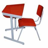 Carteira E Cadeira Infantil Trapézio Fórmica Vermelha