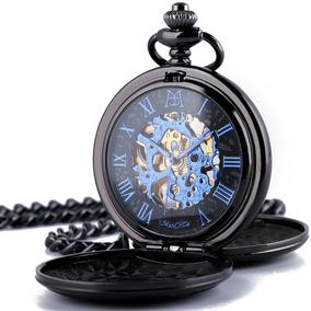 Manchda Reloj Bolsillo Números Romanos Retro Hombre Negro Ca