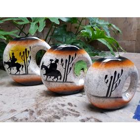3 Jarrones Quijote Ceramica Artesania Mexicana Hecho A Mano