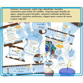 Kit Imprimible Baby Shower Cigueña Bebe Niño Recuerdo