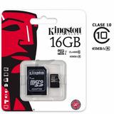 Memoria Microsd Kingston 16gb Clase10 + Adaptador Sd