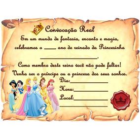 01 Convite Princesas Disney Pergaminho