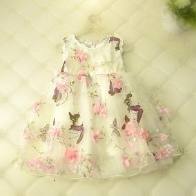 Vestido Nena Fiesta Bautismo - Flores En Relieve - Capas Tul