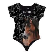 Body Manga Curta Feminino Cavalo Country C7304
