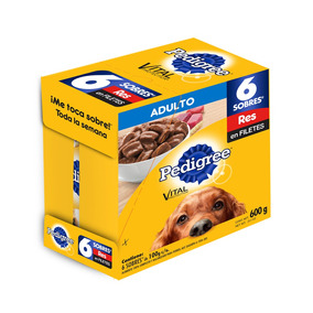 Pedigree Pack 6 Sobres 100g Perro Adulto Res Pouch