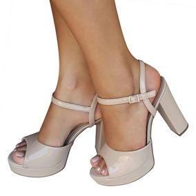 Sandalia Nude Salto Alto Grosso Meia Pata Beira Rio Conforto