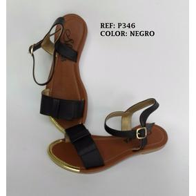 Calzado Sandalia Dama Plana Negro Elegante Mujer Envío Grati