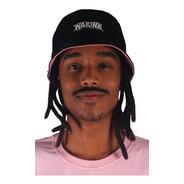 Chapeu Bucket Hat Narina Dupla Face Preto Rosa Original