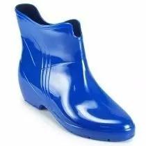 Bota Galocha Impermeavel Borracha Feminimo Curta Azul