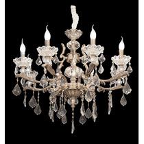 Lustre Veneziano Cristal 8 Braços Para Sala Mesa Quarto