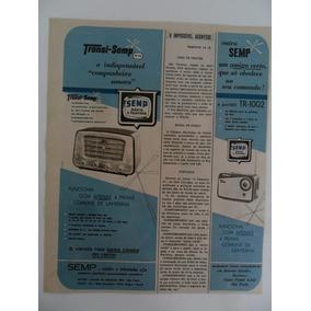 Folha De Propaganda Antiga Semp Rádio E Televisão Década 60