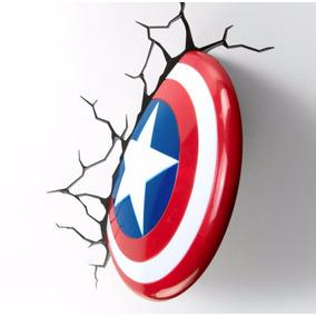 Capitán América Lámpara De Noche 3d Marvel
