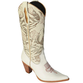 Bota Country Feminina Texana Lady Silver Madrid Bordado