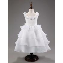 Vestido Infantil Festa Branco Dama Honra Batizado Comunhão