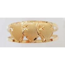 Swjoias Anel 3 Corações Coração Ouro Amarelo 18k 750