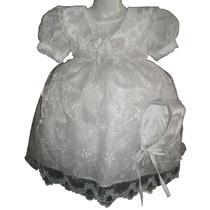 Nuevo Vestido Blanco Organza Bautizo Ropon 2 Y 3 Años