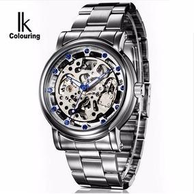 Relógio Automático Ik Collouring Original Prata Na Caixa