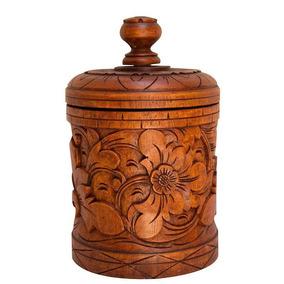 Pote Decorativo Madeira Entalhada - Artesanato De Bali