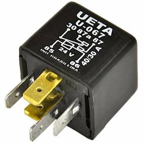 Rele Auxiliar 24 Volts 40 Amperes 5 Pinos Ueta 067 C/suporte