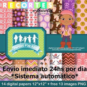 Kit Scrapbook Digital Izzy- Jake E Os Piratas - Envio Imedia