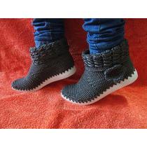 Botines Zapatos Botas Tejidas En Nylon Dama Crochet