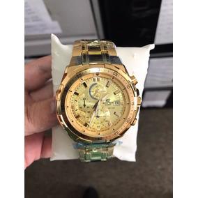 Relógio Edifice Ef-558d Original Promoção Gold Frete Lindo