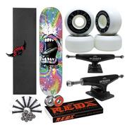 Skate Completo Profissional Santa Cruz C Moska E Red Bones