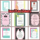 Invitación Cumpleaños Todos Los Eventos 11x9 + Tarjeta 7x8