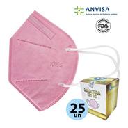 Mascara Kn95 N95 5 Camadas Proteção Rosa Kit 25un Anvisa